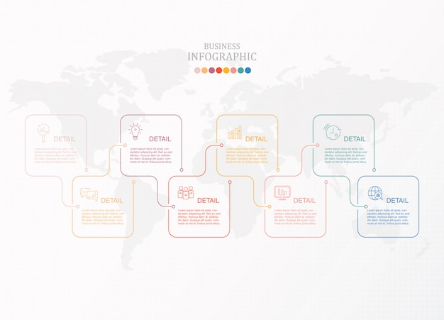 ボックスインフォグラフィックと現在のビジネスのアイコン。