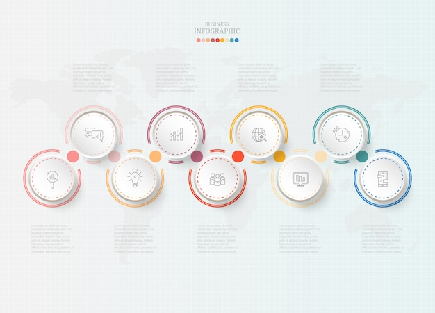 ビジネスコンセプトの標準円インフォグラフィック。