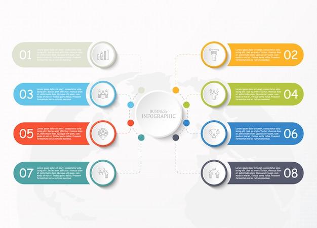 ビジネスコンセプトの標準的なインフォグラフィックと仕事の男性アイコン。
