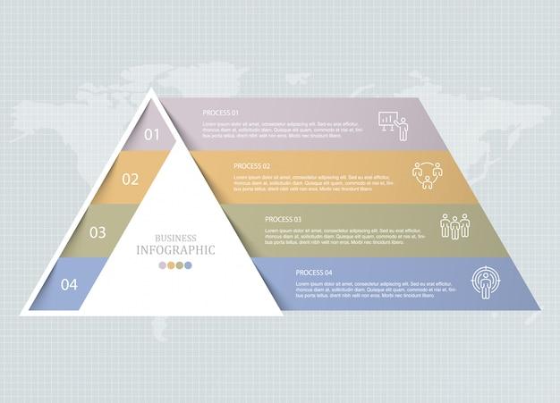 三角形のインフォグラフィックと職人のアイコン。