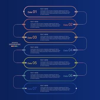基本的なインフォグラフィックとビジネスコンセプトの青色の背景。