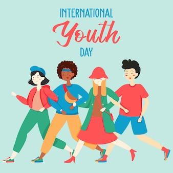 幸せな国際青年の日の背景