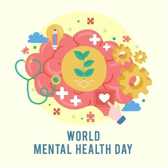 世界精神保健デー。精神的な成長。あなたの心をクリアします。前向きな思考