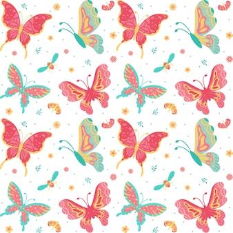 Ручной обращается бабочки, насекомые, цветы и растения бесшовные шаблон, изолированных на белом фоне