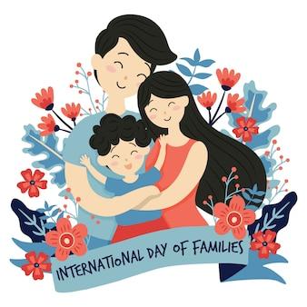 花の背景を持つ家族の国際デー