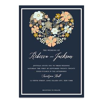手描きの春の花の結婚式の招待状