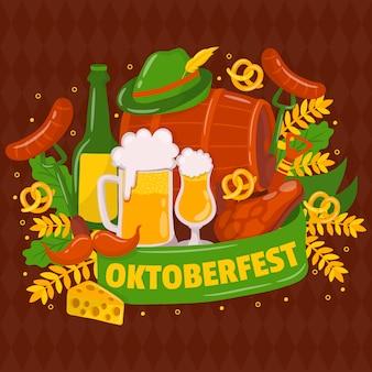 オクトーバーフェスト。伝統的なドイツの祭り。口ひげ、新鮮な黒ビール、プレッツェル、ソーセージ、秋の葉、旗、アコーディオン、ビール