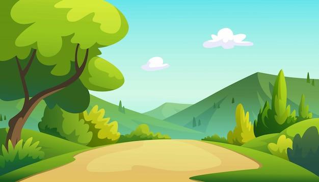 木とジャングルのグラフィックのイラスト。