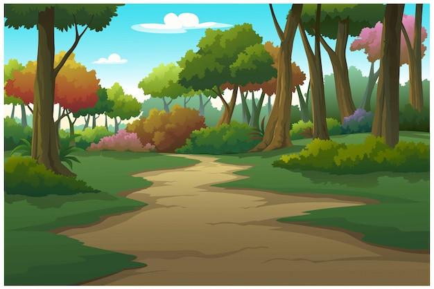 Пейзаж лесного дня так прекрасен.