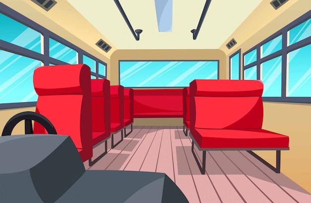 バスのインテリア、漫画のスタイルのイラスト