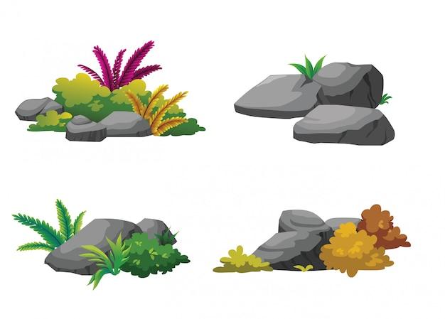 石と潅木は美しく庭を飾る。