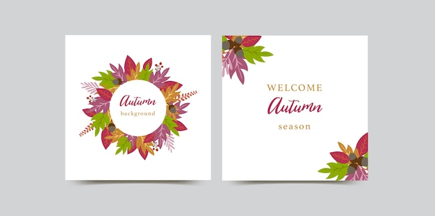 Осенние открытки с цветными листьями.