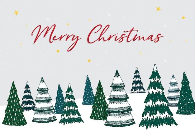 С рождеством христовым. рождественская елка на фоне белого снега с зимним пейзажем.