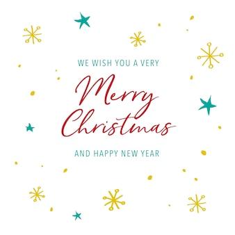 Рождественская открытка каллиграфия текст со снежинкой и звезды на белом фоне.