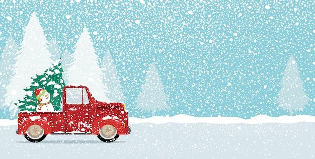 Новогодняя открытка с елкой и симпатичным снеговиком