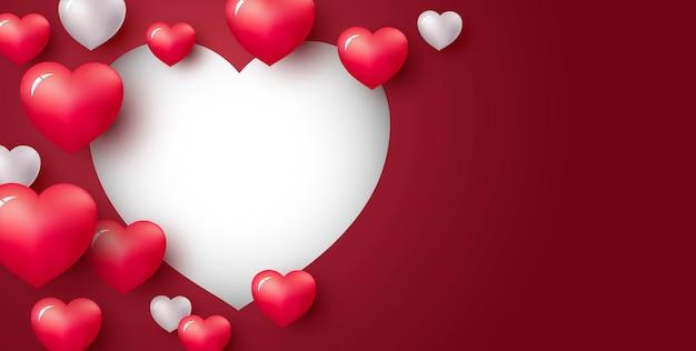 赤い背景に心の愛の概念