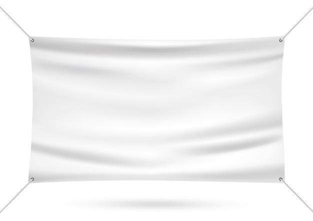 白のビニールバナーをモックアップ
