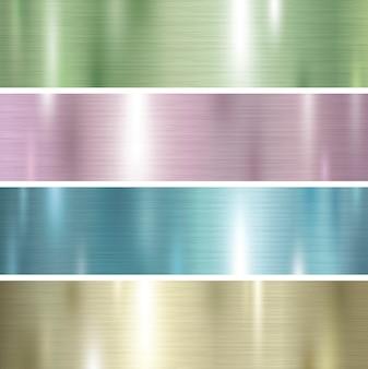 パステルカラーの金属の質感の背景のセット