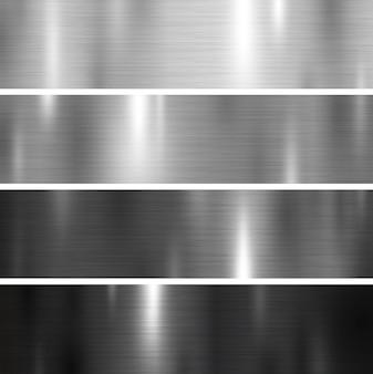 銀と黒の色の金属のテクスチャ背景のセット