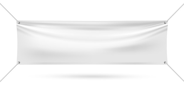 白い背景の上のビニールバナーをモックアップします。