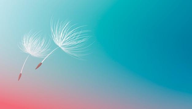 青い背景イラストの上を飛んでタンポポの種