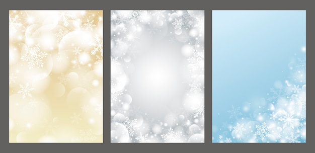 雪の結晶と光の効果とボケ味のクリスマスデザイン