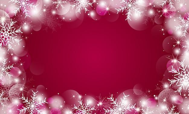 雪の結晶とボケライトのクリスマス背景デザイン