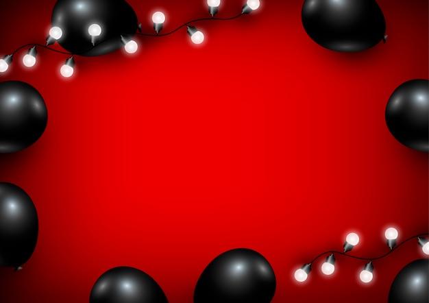 Воздушный шар и лампочка на красном фоне