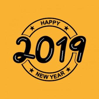 黄色の背景と新年ヴィンテージデザイン