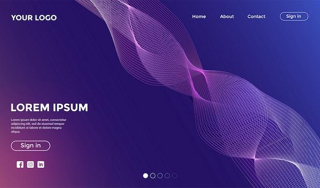 動的なカラフルな背景を持つウェブサイトのランディングページ