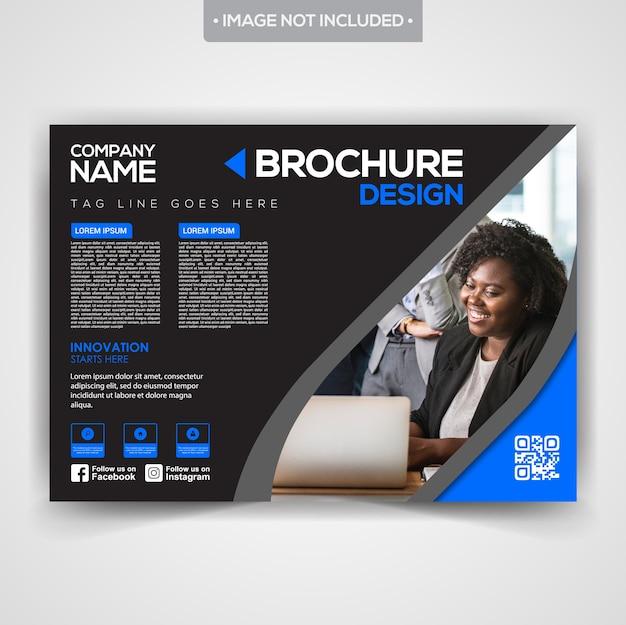 黒いスタイリッシュなプロのビジネスパンフレットのデザイン