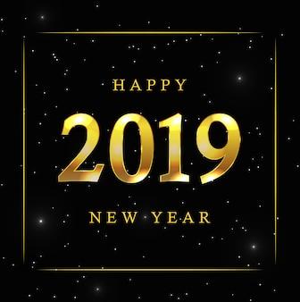 黄金の星と新年の背景