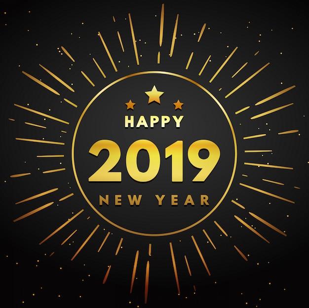 背景の花火と黄金の新年