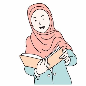 本、漫画イラストを保持しているヒジャーブを着ているイスラム教徒の女性