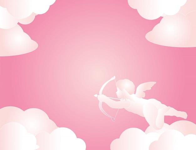 かわいいキューピッドは、バレンタインの日にピンクの背景の雲と矢印を保持します