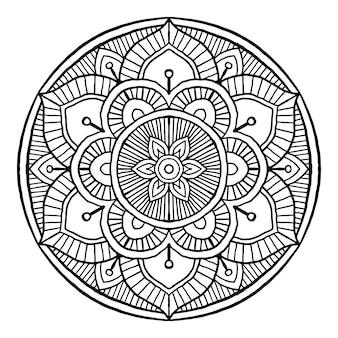 Контур мандалы декоративный круглый орнамент