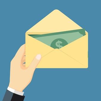 Предприниматель держит деньги в конверте-вектор плоский дизайн