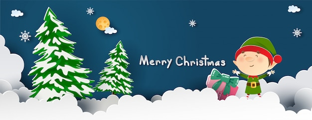 紙カットのクリスマスカードのためのかわいいエルフのクリスマスのお祝い