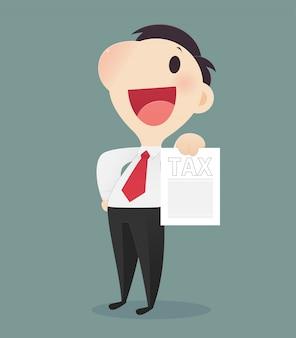 税務フォームを保持している漫画のビジネスマン、税務文書を持っている文字の男の手、ベクターアートイラスト