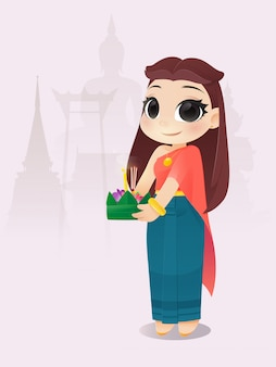 Мультфильм женщина с фестивалем лой кратонг