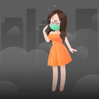 オレンジ色のドレスを着た女性は、汚染のために彼女の鼻を保護マスクを着用