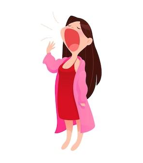 Иллюстрация женщина в ночной рубашке и халат стоял зевок