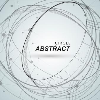 線とドットで抽象的な円形