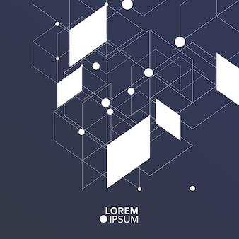 抽象的な接続点と線と科学技術の背景