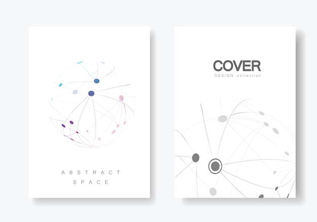 接続線とドットでデザインパンフレットをカバーする