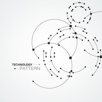 円の背景を結ぶベクトルポイント。線と点による幾何学的抽象化設計