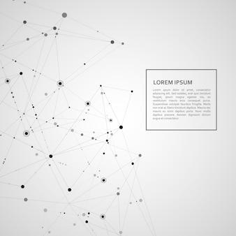 多角形ネットワークの背景を接続します。線と点の科学