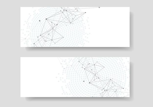 接続された直線と点と抽象的な幾何学的な背景。技術バナーカバー