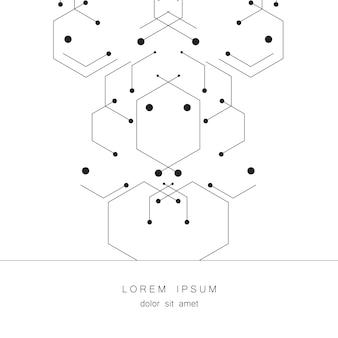 背景の六角形の幾何学的な数字。創造的なプロセスのための技術設計