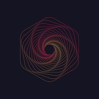抽象的な渦巻き六角形渦構造